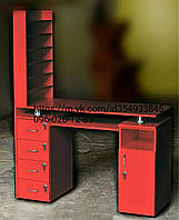 Профессиональй маникюрный стол двухтумбовый красный с полками для лаков