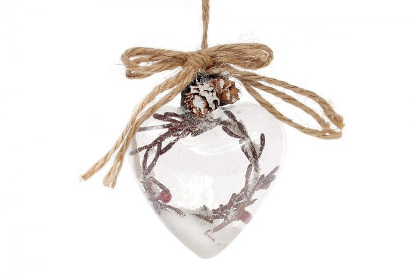 Елочное украшение стеклянное сердце 9см