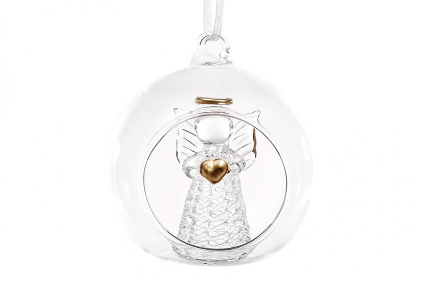 Украшение на елку с подсветкой Ангел с сердцем 8см