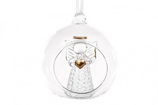 Украшение на елку с подсветкой Ангел с сердцем 8см, фото 2