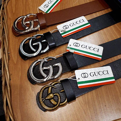 Ремень Gucci кожаный черный с серебряной глянцевой пряжкой, фото 3
