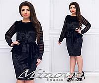 Бархатное платье с баской 48+, фото 1