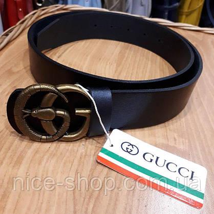 """Ремень Gucci кожаный черный с пряжкой-""""змеей"""", фото 2"""