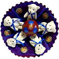 Букет из мягких игрушек Мишки с футбольным мячом Барселона
