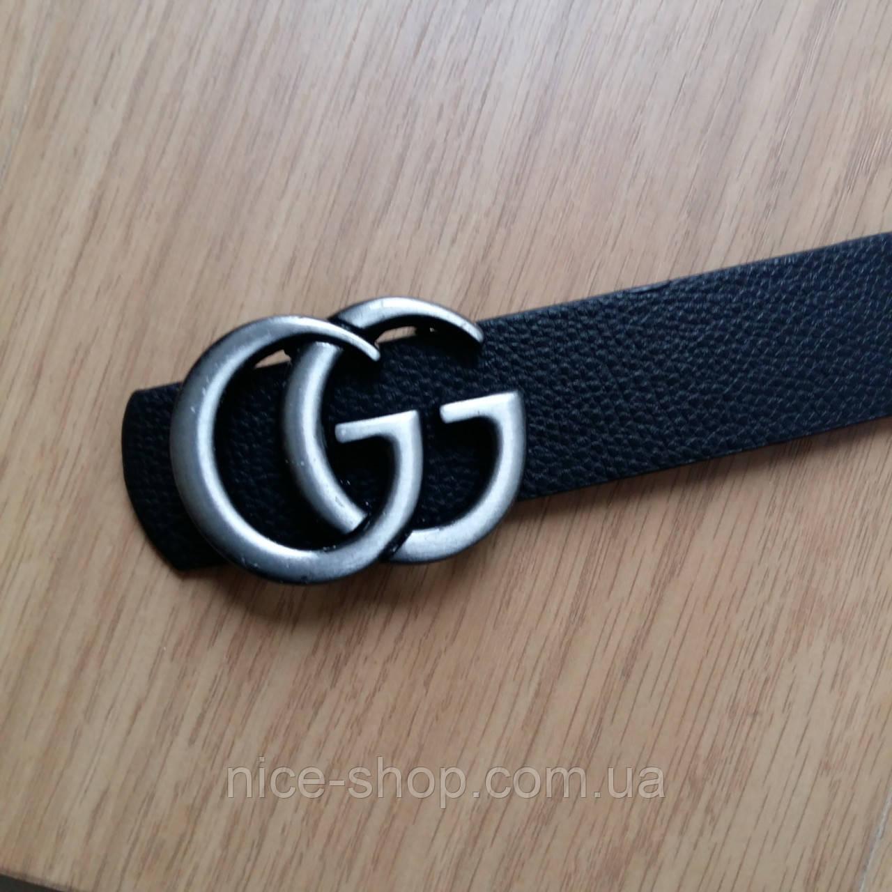 Ремень Gucci черный с серебряной матовой пряжкой