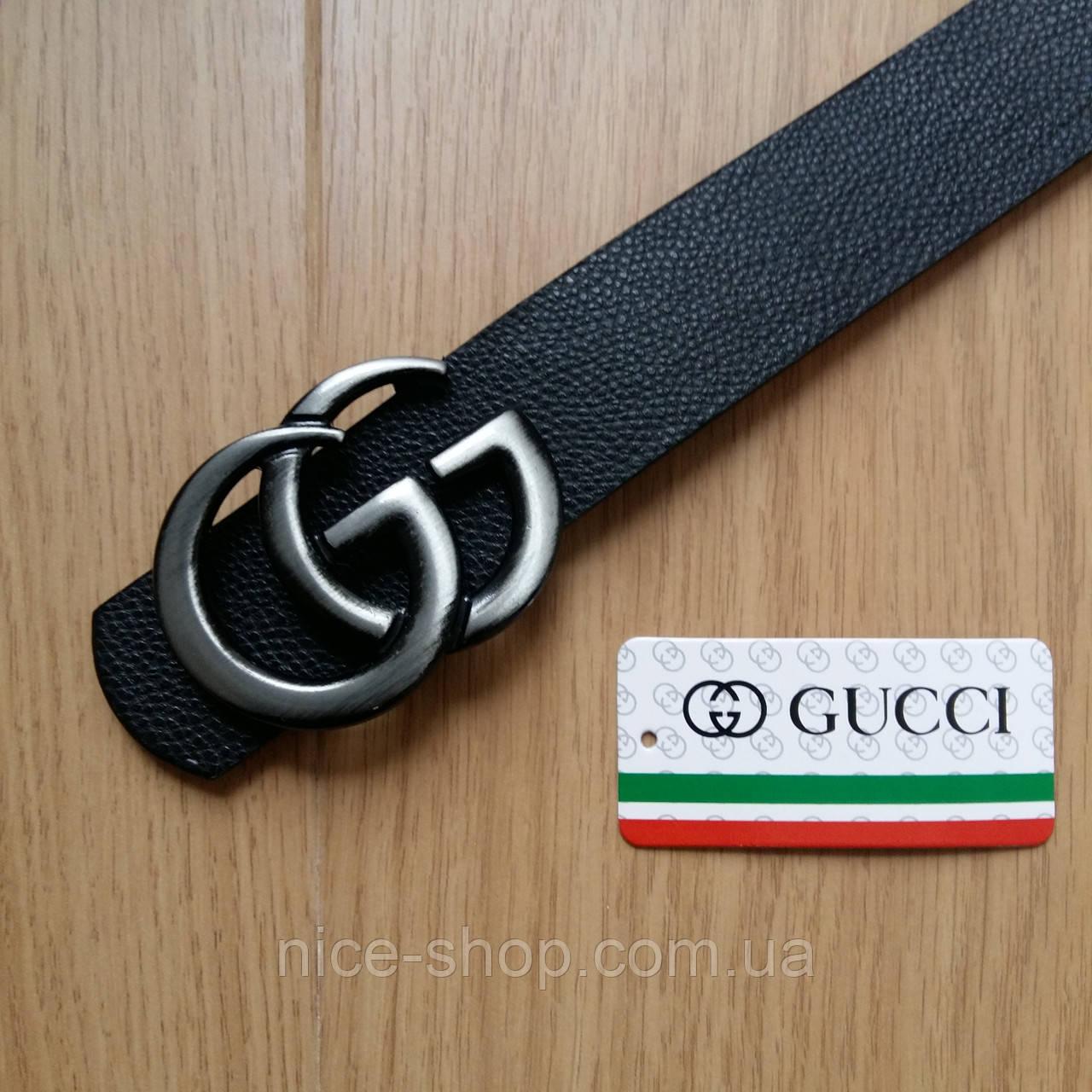 Ремень Gucci черный с серебряной матовой пряжкой, средний, 3,2 см