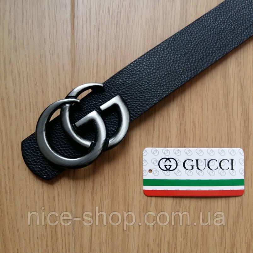 Ремень Gucci черный с серебряной матовой пряжкой, средний, 3,2 см, фото 2
