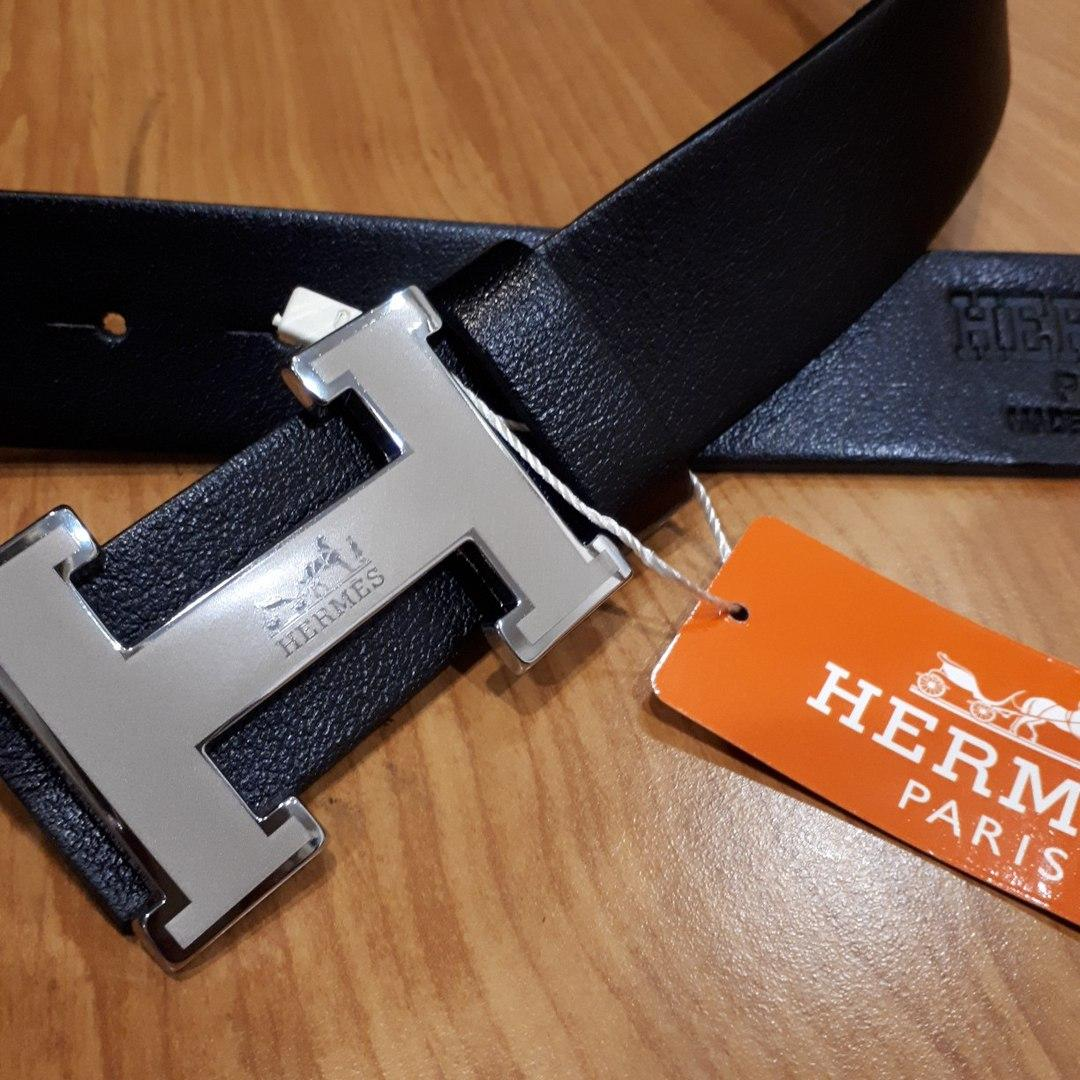 Ремень Hermes кожаный черный с серебряной матовой пряжкой