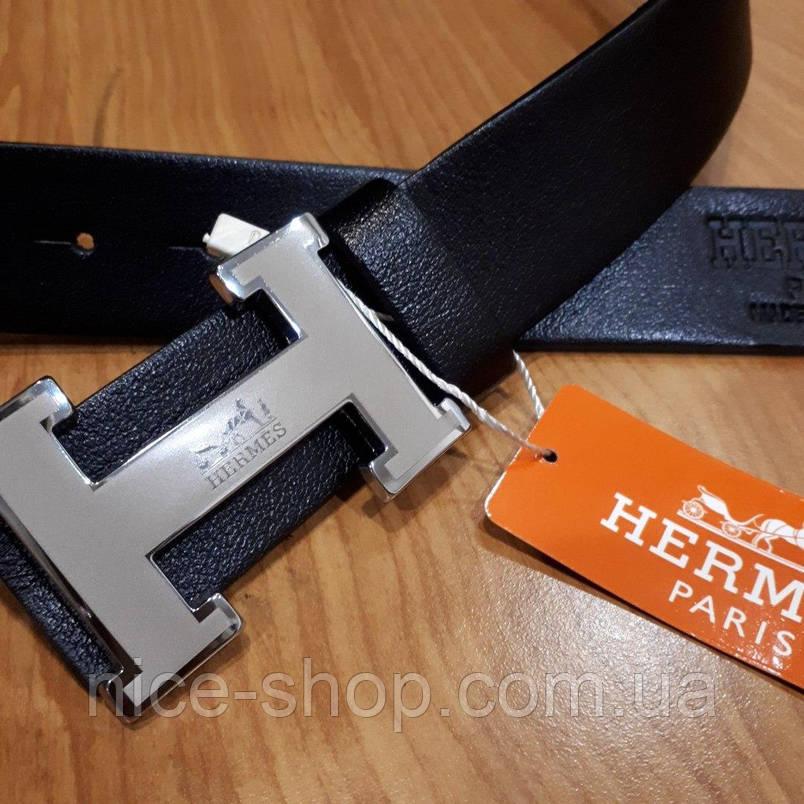 Ремень Hermes кожаный черный с серебряной матовой пряжкой, фото 2