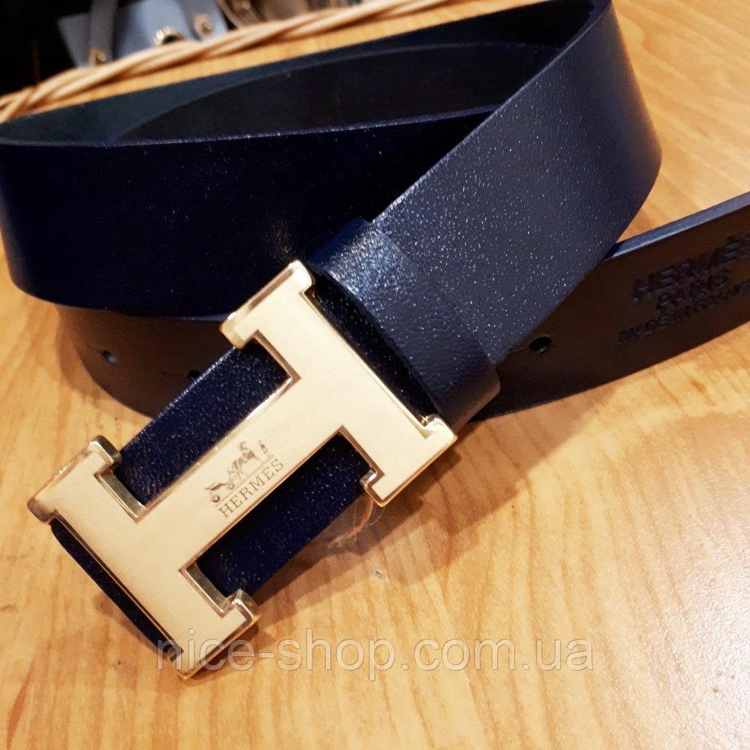 Ремень Hermes кожаный темно-синий с золотой матовой пряжкой