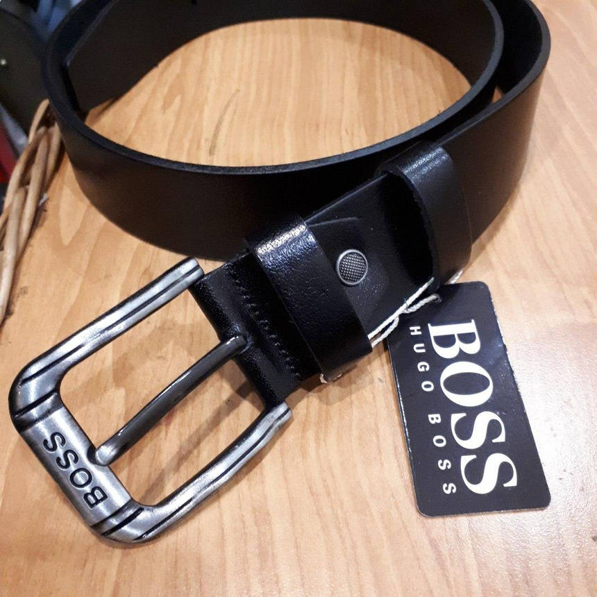 Ремень Hugo Boss  кожаный черный , фото 2