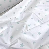 """Ткань ранфорс Турция """"Грязно-мятные звезды """" на белом 240 см  № WH-025"""
