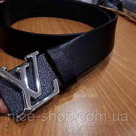 Ремень Louis Vuitton кожаный черный, фурнитура-глянцевое серебро