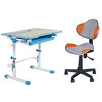 Комплект Растущая парта FunDesk Lavoro L Blue + Детское компьютерное кресло LST3 Orange-Grey