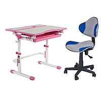 Комплект Растущая парта FunDesk Lavoro L Pink + Детское компьютерное кресло LST3 Blue