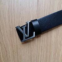 Ремень Louis Vuitton кожаный черный, фурнитура-матовое серебро