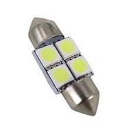 Лампочка софітка діодна біла 12V  4SMD 5050 28mm
