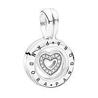 Кулон подвеска Медальон маленький с плавающим сердцем, Пандора серебро