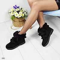 Ботинки женские с опушкой черные
