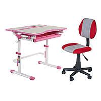 Растущая парта FunDesk Lavoro L Pink + детское компьютерное кресло LST4 Red
