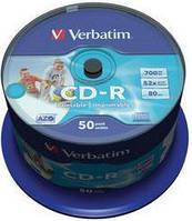Диск verbatim cd-r 700 Мб 52x cake 50 штук printable 43309
