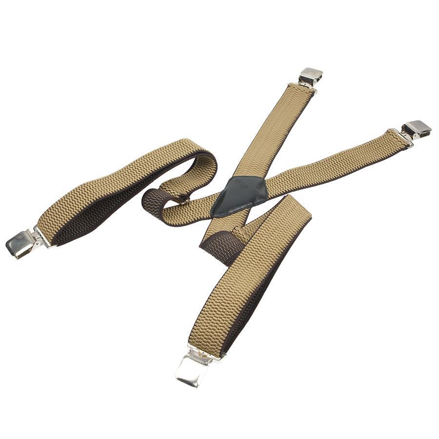 Бежевые мужские подтяжки Top Gal 40-X light beige/кант Х-образной формы