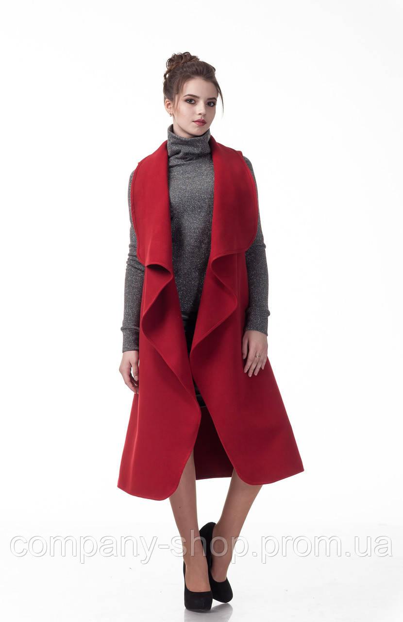 Женский шерстяной жилет - накидка. Модель Ж007_бордовый.