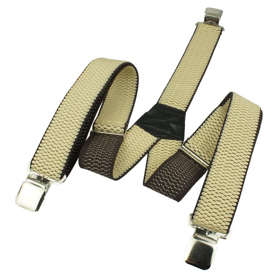 Чоловічі бежеві підтяжки з чорним кантом Top Gal 40-Y light beige / кант