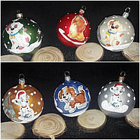 Новогодний шарик с собачками на елку, пластик, диам. 6 см., 6 шт., 90/78 (цена за 1 уп. + 12 гр.)