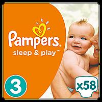 Подгузники (підгузники) Pampers Sleep & Play, Размер 3 (Midi) 5-9 кг, 58 подгузников