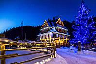 Новогоднее украшение фасада дома, коттеджа, усадьбы, подсветка деревьев, елок, иллюминация