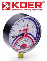 Термоманометр радиальный 0-6 bar (KM.801R)