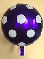 """Фольгированные шарики в горошек 18"""" (45 см)  Balloons Фиолетовый"""