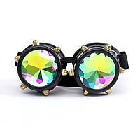 Фестивали Rave Kaleidoscope Rainbow Очки Призма Lense Steampunk Rivet