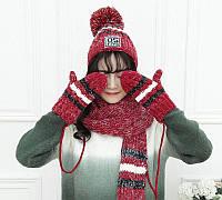 Вязаный комплект женский шапка, шарф и варежки Caple red