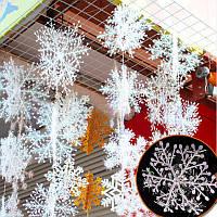 6pcs Рождественский орнамент 3D белый снежинка пластиковые окна Рождественская елка Новогоднее украшение
