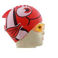 Детская силиконовая шапочка для плавания в бассейне рыбка от 2 лет