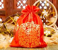 Мешочек из сатина с орнаментом Красный
