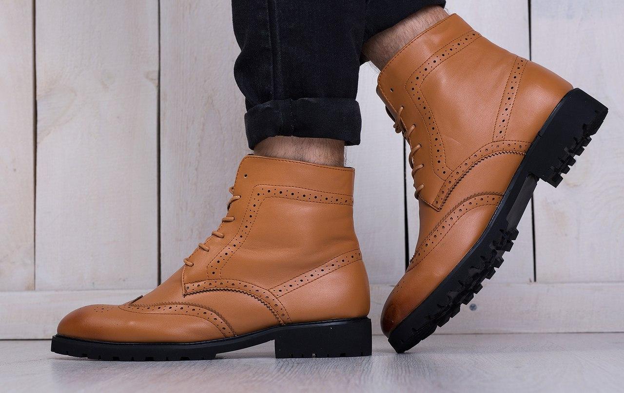 Классические мужские ботинки на меху (рыжие)