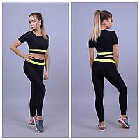 Черный костюм для фитнеса женский | Черные спортивные лосины