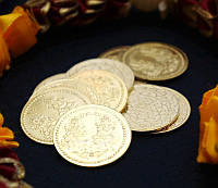 Монета алтарная из желтого метала Ганеш \\ Лакшми