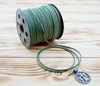 Шнурок велюровый на катушке длина 90 метров Тёмно зелёный