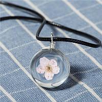 Кулон шарик розовый цветочек