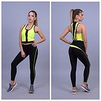 Яркие спортивные лосины со вставками | Одежда для фитнеса женская