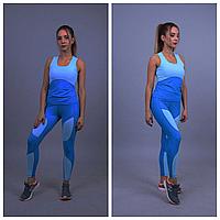 Голубой спортивный костюм женский | Спортивные лосины + спортивный топ для фитнеса