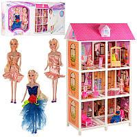 Детский кукольный домик 66886, 3 этажа с мебелью