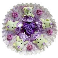 Букет из мягких игрушек Мишки бело фиолетовый