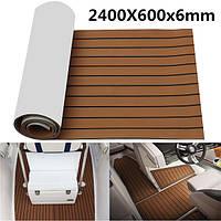 2400x600x6mm EVA пена коричневый с черной линией Лодка настил Faux Teak Sheet Pad
