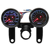 Универсальный LED мотоцикл Черный тахометр + одометр Спидометр калибра C Кронштейн