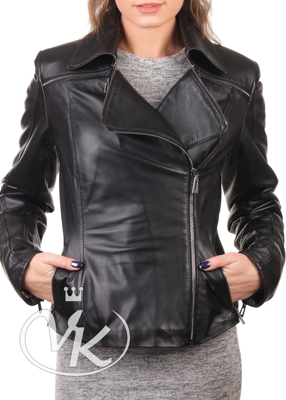 Женская натуральная кожаная куртка черная короткая (Арт. DG2-201)